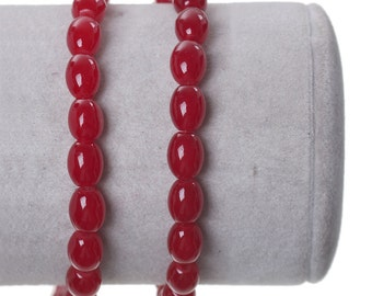 1 Strand Oval Red Glass Beads 8mm (B117d)
