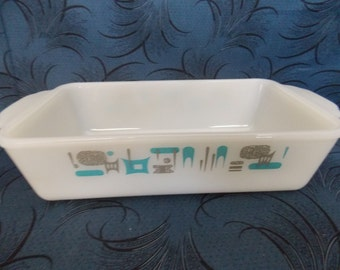Vintage Fire King Blue Heaven Aqua Turquoise Milk Glass Loaf Pan Casserole Dish