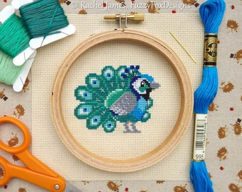 Proud Little Peacock Cross Stitch Pattern PDF | Cute Little Bird | Easy | Modern | Beginners Counted Cross Stitch | Instant Download