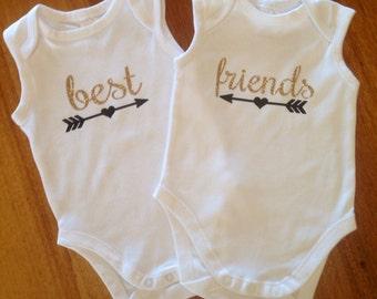 Best friends twin bodysuit, twins bodysuit, twins, glitter