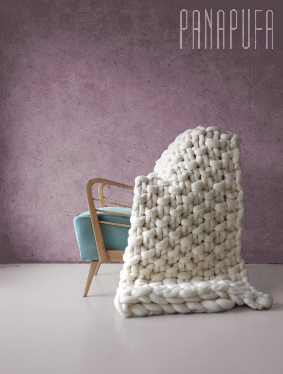 Large Knitting Blankets : Promo price large knit blanket chunky yarn by panapufa