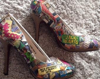 Comic book heels, handmade, custom made, sizes 5,6,7,8 marvel heels,