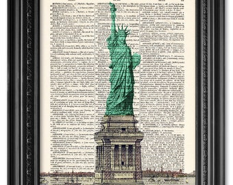 Statue of liberty, Dictionary art print, Vintage book art print, upcycled dictionary page, Home Wall Decor, Gift poster [ART 080]