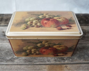 """7"""" Vintage Fruit Scrub Style Metal Tin Container Grapes Apple and Hazelnut"""