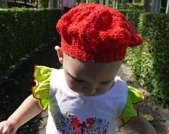 Crochet red beret for a baby-girl