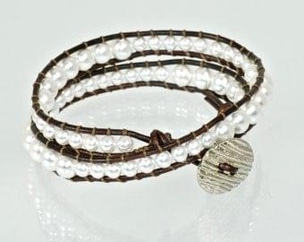 Pearl Wrap Bracelet, Chan Luu Wrap Bracelet, Pearl Wrap Bracelet, Double Wrap Leather Bracelet, Pearl Leather Wraps, Pearl and Leather