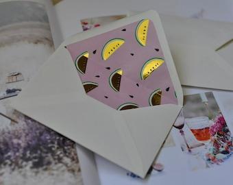 Lined envelopes, Gefütterte Umschläge 10 Stück, GOLD METALLIC MELONS, A set of 10, Versandkostenfrei, no shipping costs