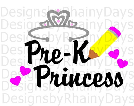 Buy 3 get 1 free! Pre-K princess cutting file, back to school, SVG, DXF, png, preschool princess