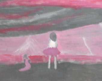 A girl and her sister in front of a storm.