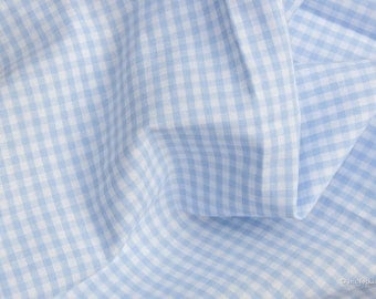 Gingham fabric light blue checkered 2.5 mm Eco-Tex® standard 100