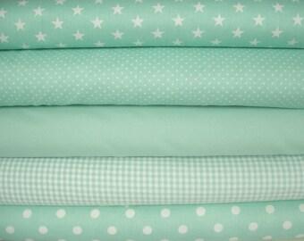 Mint fabric package 5 substances 50 x 140 cm