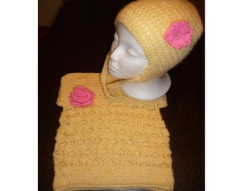 Knitted hat and vest for girls