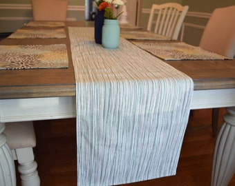 Grey Table Runner Stripe Kitchen Linens Dining Room Decor White Spa Blue Colors Dinner Party Setting Housewarming Gift
