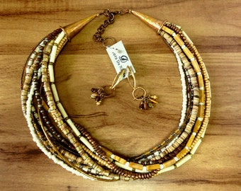 OOAK Multi Layers Necklace With Matching Earrings