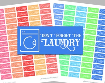 Laundry Reminder Stickers - Erin Condren Vertical or Happy Planner - Instant Download - Functional Stickers, Warm and Cool Colors, Cleaning