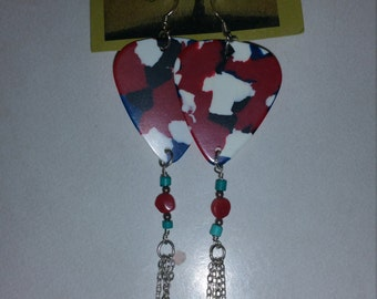 One of a kind stylish Guitar Pick Earrings red, white and blue