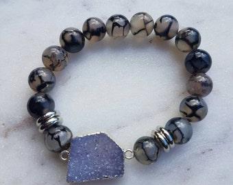 Purple druzy with agate beads bracelet