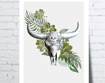 Poster head of Buffalo tropical ambience, wall art, photo, home décor, Scandinavian, poster