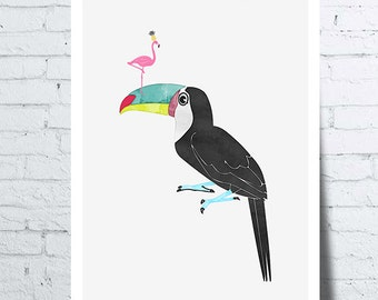 Poster Toucan with a pink Flamingo on its beak, wall art, picture