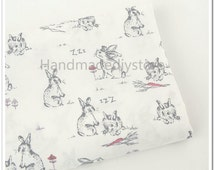 Love Rabbit Fabric, Cute Gray Rabbits and Carrot Pattern Fabric, Cute Bunny Animal Fabric (JJ54)