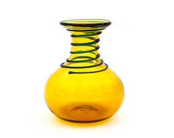 Blenko, Applied Glass Vase, Amber, Blue and Green, Blenko Art Glass Vase