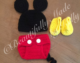 Mickey Mouse inspired Newborn Diaper Cover Set
