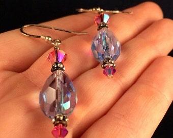 Swarovski Sterling Silver Pink & Blue Earrings- J1025