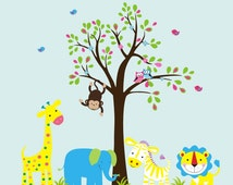 """Nursery Adhesive Animal - Nursery Wall Decal - Baby Room Wall Art -  Wall Decal Nursery - Fabric Wall Decals - Nursery Stickers - 76"""" x 93"""""""