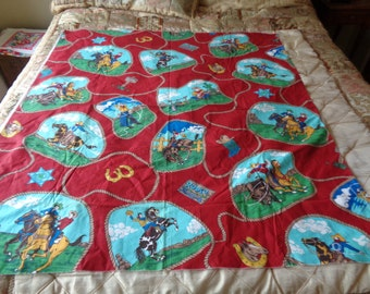 "Vtg Cotton Fabric ""RODEO"" ""Western"" ""COWBOYS"" Pattern UNUSED Material 50"" X 44"""
