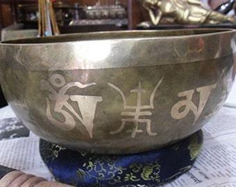 """9"""" Om Carved Meditation Tibetan Singing Bowl"""