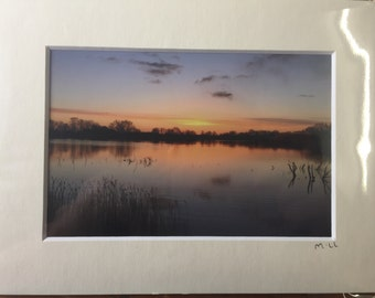 Beautiful Sunrise over a lake in the Cotswolds Photo in a Mounted Frame