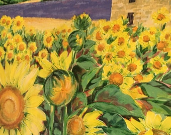 50 x 100 sunflowers landscape acrylic painting on canvas