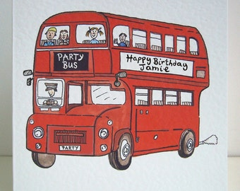 Double Decker Bus Card, Big Red Bus Card, Red Bus, Red Double Decker Bus any occasion Greetings Card. Please read item details.