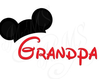 Grandpa Mickey Family Shirt DIY Mickey Mouse Head Disney Family Download Iron On Craft Digital Disney Cruise Line Magnet Shirts