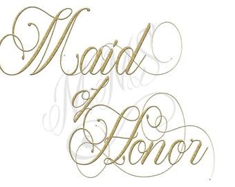 Maid of Honor Script Gold Custom DIY Digital Design Art File T-Shirt Top Bachelorette Bridal Party Bridesmaid
