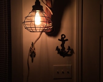 Mounted Driftwood Light fixture
