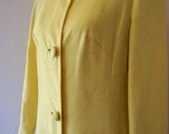Vintage 1960s / Raw Silk /  Mod Trench Coat / Jackie O / Vintage Jacket