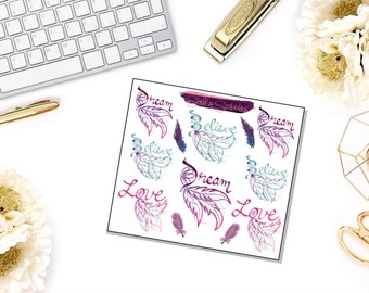 BOHO DREAMCATCHER WORDS Decorative Stickers, Weekly Kit, Personal, Pocket, Sew Much Crafting, Erin Condren, Planner Stickers, Cute Stickers