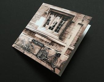 Greetings card, Oxford, bikes, bicycle, Turl Street, B&W, sepia effect, square, blank
