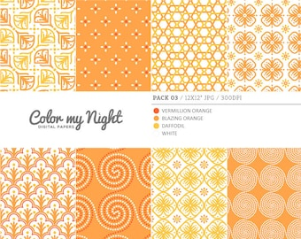 Digital Paper Orange 'Pack03' Scrapbook Papers Digital Backgrounds for Scrapbooking, Invitations, Decoupage, Crafts...
