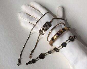 Vintage Suite of Five Bracelets, Bangles, Jewelry
