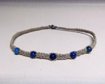 Natural Hemp Necklace w. Blue Agate