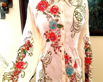 Vintage 1950s White ETHNIC EMBROIDERED Silken Silk Floral Russian Peasant Tapestry Colorful Artistic Hippie Poet Sleeve Dress Top Blouse