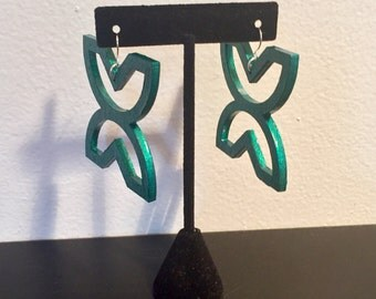 Hand Painted Wood Adinkra Symbol Earrings