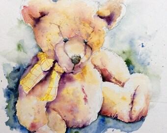 "Original Watercolour - Free shipping ""Teddy bear"" (Teddy bear plush baby decoration birth softness tenderness)"