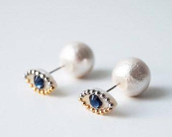 eye, eyeball, Medama, Pearl, Pierced-earrings, Petit, indigo