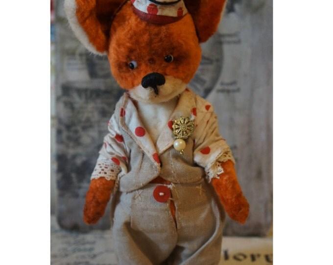Stuffed Fox Red - Fox animal - OOAK artist teddy fox, Red Fox Joni, OOAK art teddy, bear clown, OOAK art red Fox, Plush red fox,