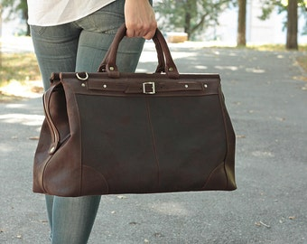 Free shipping. Leather Duffel Bag, Brown Leather Valise, Handmade Weekend bag, Travel Bag, Carry-on luggage, Cabin Luggage, Carry on Baggage