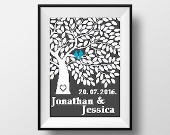 wedding cross stitch pattern personalized pdf printable family tree wedding gift birds modern heart love cute diy gift mr mrs animal