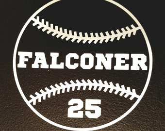 Personalized Baseball decal, helmet decal, water bottle decal, sports equipment decal.